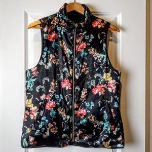 Kensie Black & Floral Print Reversible Puffer Vest
